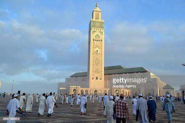 Muslims gather to perform Salat al Eid prayers at the Hassan II Mosque one of the largest mosques in the world during the first day of the Eid Al...