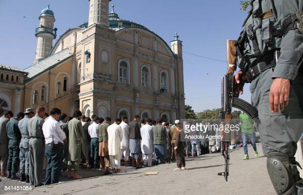 Muslims gather to perform the Eid AlAdha prayer at Shah E Doshamshira Mosque in Kabul Afghanistan on September 01 2017 Muslims worldwide celebrate...