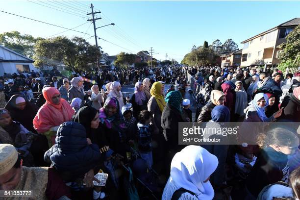 Muslims leave Lakemba mosque after Eid alAdha prayers in Sydney on September 1 2017 Muslims living in Australia are celebrating Eid alAdha the 'Feast...
