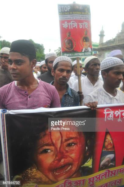 Muslims of Tripura stage a rally through various thoroughfares of Agartala protesting against the atrocities on Rohingya Muslims by Myanmar state...