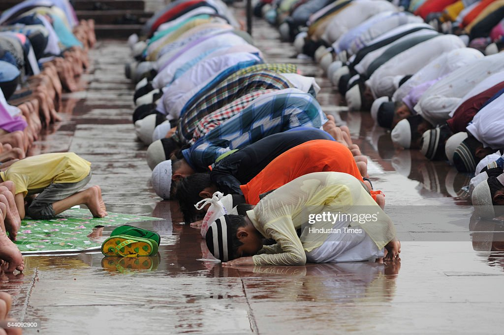 Muslims offering prayers on the last Friday of Ramadan, also called Jumu'atul-Wida, at Jama Masjid, on July 1, 2016 in New Delhi, India. Muslims throughout the world celebrate the holy fasting month of Ramadan, when they refrain from eating, drinking, and smoking from dawn to dusk.