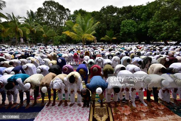 Muslims offering prayers on the occasion of EidUlFitr at Quddus Saheb Eidgah on June 26 2017 in Bengaluru India The celebrations marked the end of...