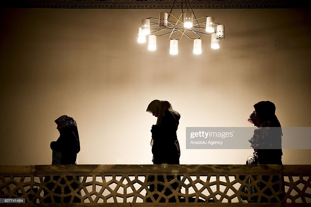 Muslims perform prayer during Miraj Night or Lailat al Miraj, one of the Muslims' five holiest night around a year, at the Kocatepe Mosque in Ankara, Turkey on May 3, 2016.