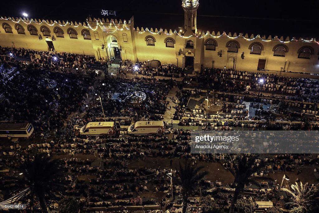 Muslims perform prayer on the Laylat al-Qadr (In Islamic belief the night when the first verses of the Quran were revealed) at Amr bin As mosque in Cairo, Egypt on July 1, 2016.
