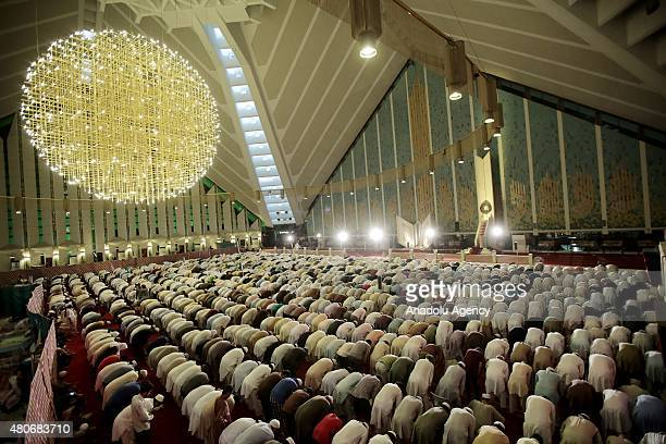 Muslims perform prayer on the Laylat alQadr at Faisal Mosque in Islamabad Pakistan on July 14 2015
