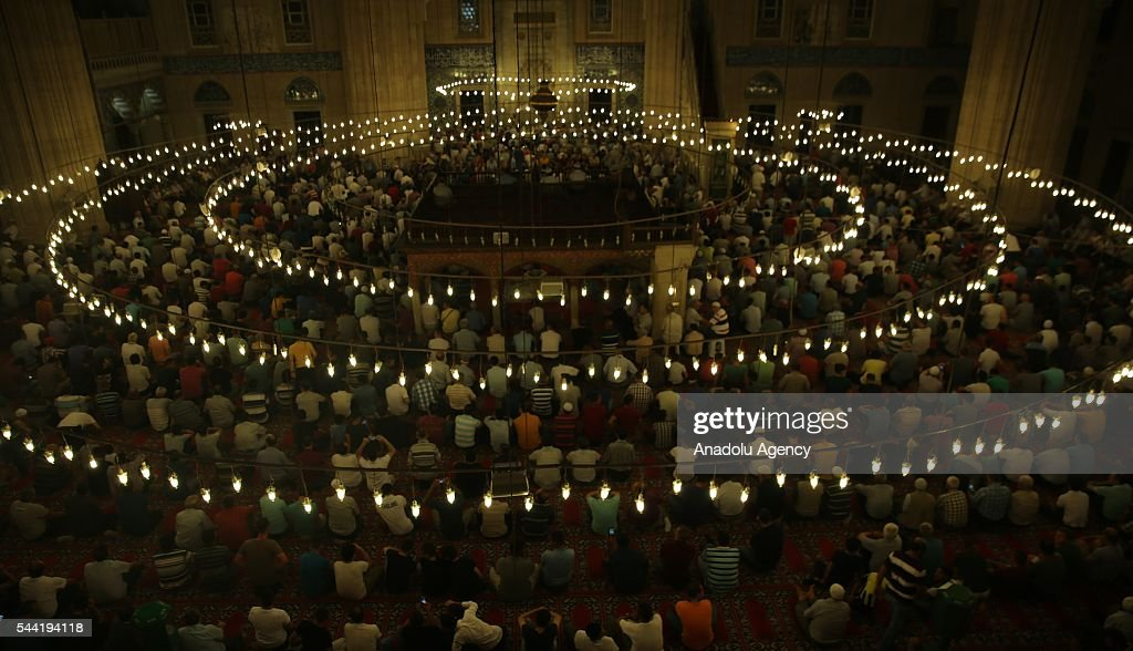 Muslims perform prayer on the Laylat al-Qadr (In Islamic belief the night when the first verses of the Quran were revealed) at Selimiye mosque in Edirne, Turkey on July 1, 2016.
