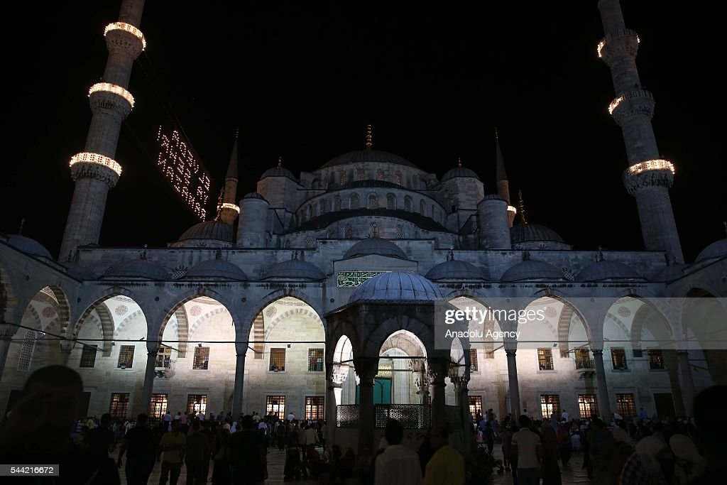 Muslims perform prayer on the Laylat al-Qadr, the night when the first verses of the Quran were revealed, at Sultanahmet Mosque in Istanbul, Turkey on July 1, 2016.