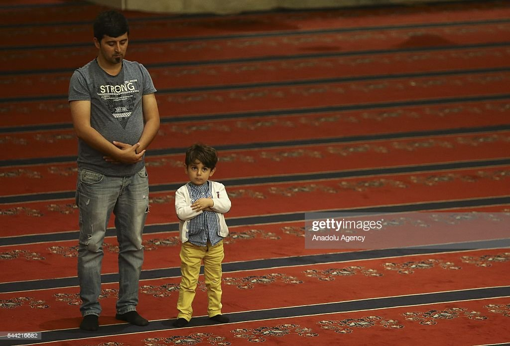 Muslims perform prayer on the Laylat al-Qadr , the night when the first verses of the Quran were revealed, at KOcatepe mosque in Ankara, Turkey on July 1, 2016.