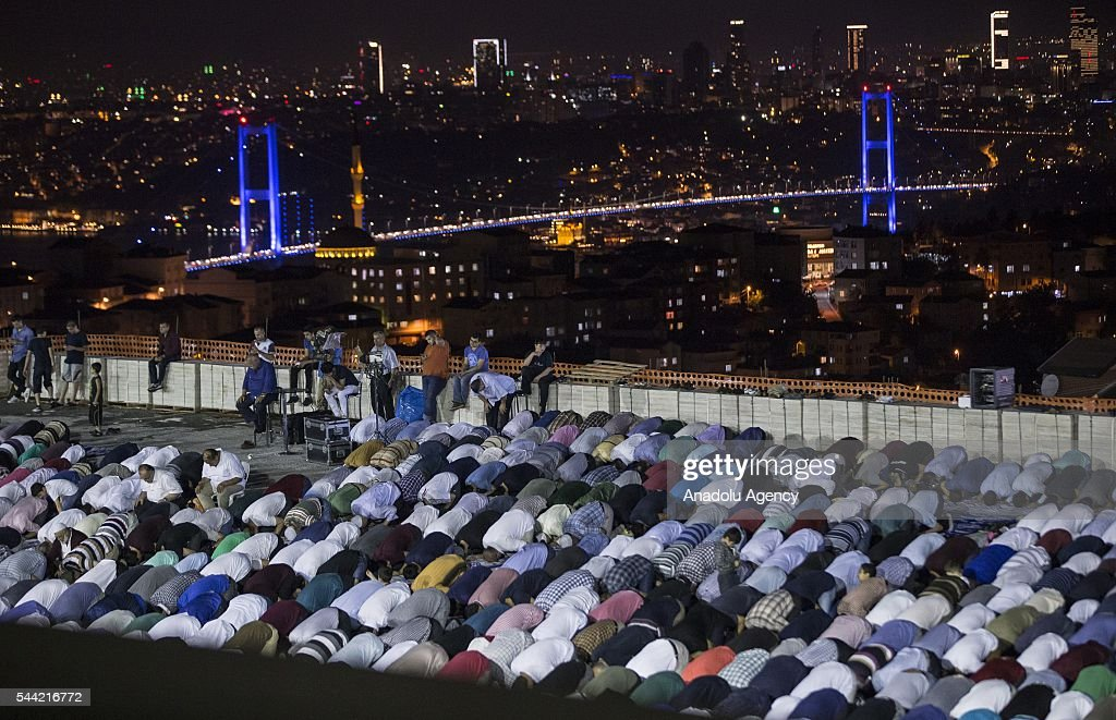 Muslims perform prayer on the Laylat al-Qadr , the night when the first verses of the Quran were revealed, at newly built Camlica Mosque, the biggest mosque in history of the Turkish Republic, in Istanbul, Turkey on July 1, 2016.