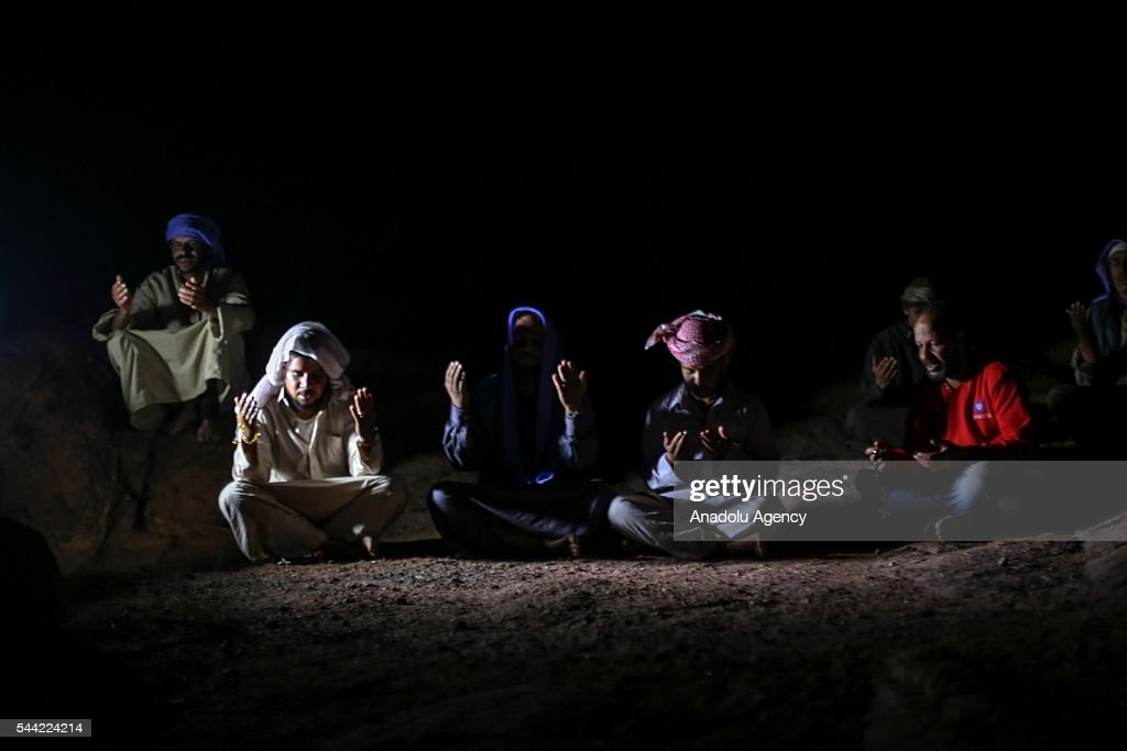 Muslims perform prayer on the Laylat al-Qadr, the night when the first verses of the Quran were revealed, at Mount Moses in Sinai Peninsula, Egypt on July 2, 2016.