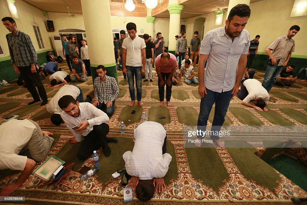 Muslims perform prayer on the occasion of Laylat al-Qadr (Night of Power) at Haji Javad Mosque in Baku, Azerbaijan. Muslims believe that Laylat al-Qadr was the night when the Quran was revealed to prophet Muhammad from Allah. Muslims believe that on this night, the blessings and mercy of Allah is abundant, sins are forgiven, supplications are accepted, and that the annual decree is revealed to the angels who also descend to earth.