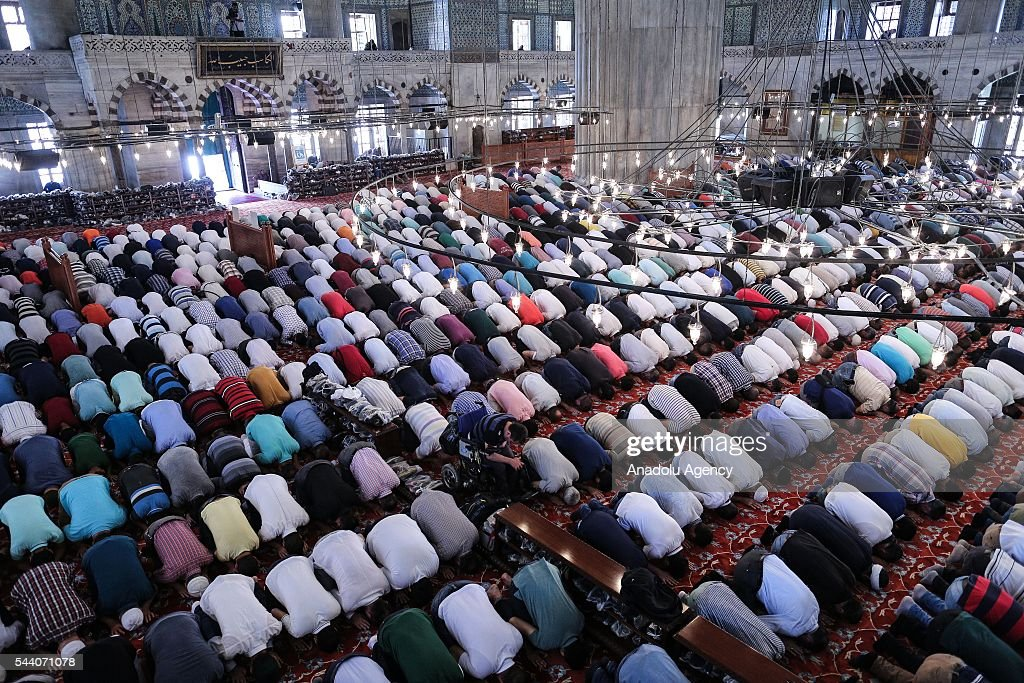 Muslims perform the last Friday Prayer of Islam's holy fasting month of Ramadan at Sultanahmet mosque in Istanbul, Turkey on July 01, 2016.