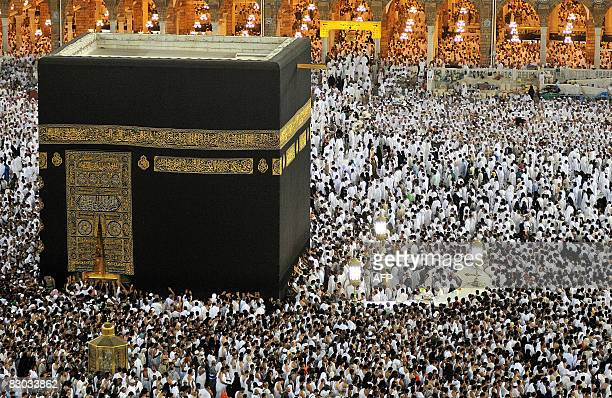 Muslims pray at the Kaaba as they perform Umra the lesser pilgrimage in the holy city of Mecca in Saudi Arabia on September 26 the last friday of the...