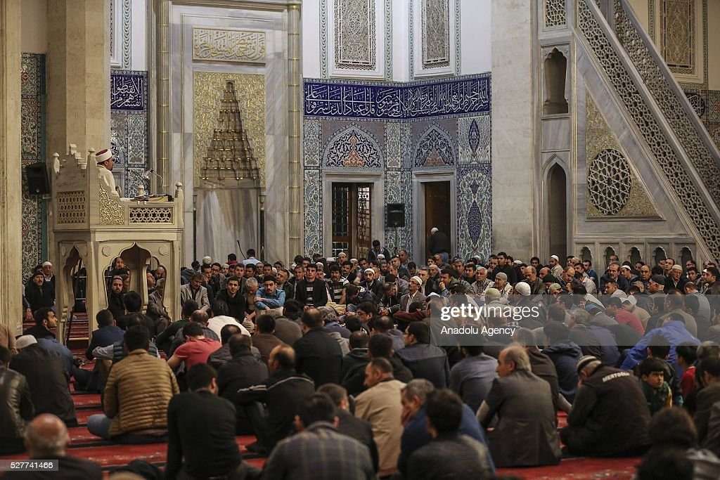 Muslims pray during a ceremony to mark the Islamic event of Miraj Night or Lailat al Miraj at Kocatepe Mosque in Ankara, Turkey on May 3, 2016.
