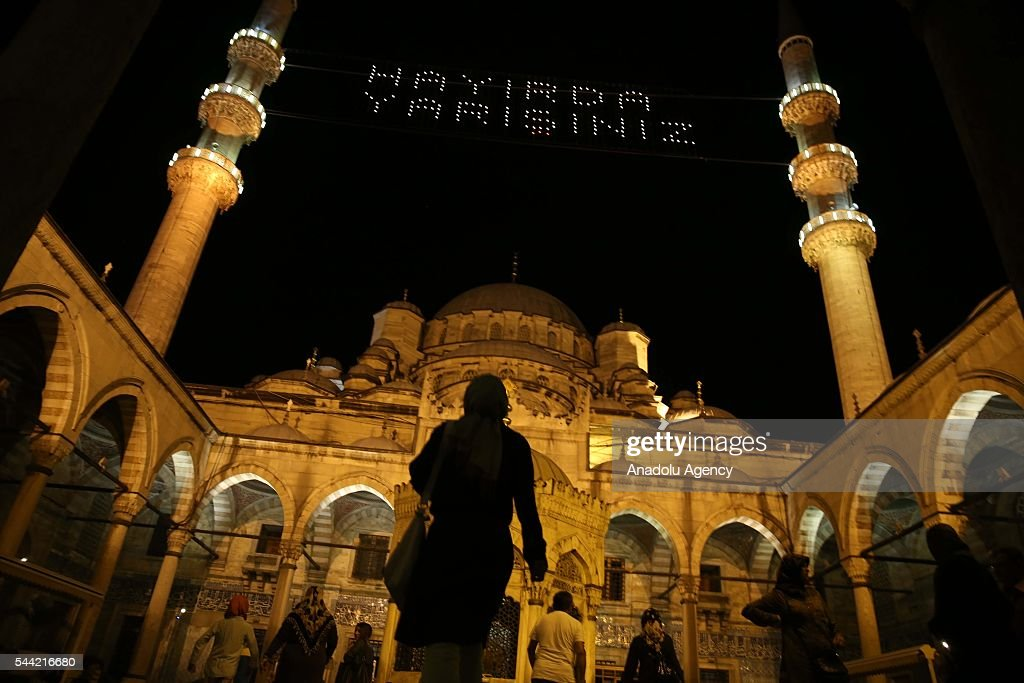 Muslims pray on the Laylat al-Qadr, the night when the first verses of the Quran were revealed, at Sultanahmet Mosque in Istanbul, Turkey on July 1, 2016.