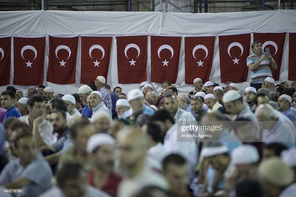 Muslims pray on the Laylat al-Qadr , the night when the first verses of the Quran were revealed, at newly built Camlica Mosque, the biggest mosque in history of the Turkish Republic, in Istanbul, Turkey on July 1, 2016.