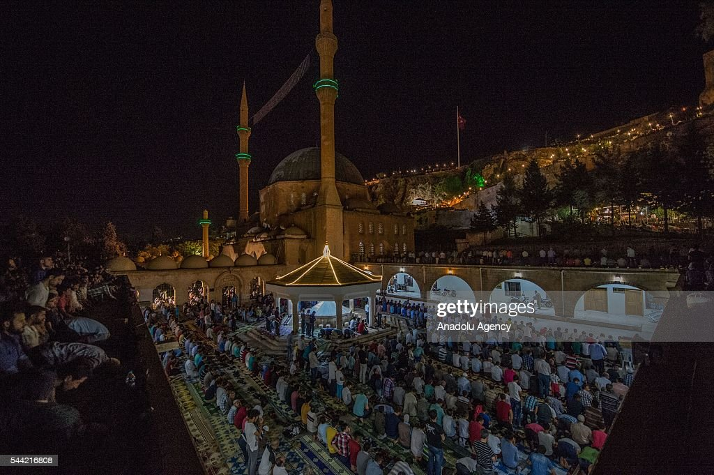 Muslims pray on the Laylat al-Qadr, the night when the first verses of the Quran were revealed, at a mosque region in Sanliurfa province of Turkey on July 1, 2016.