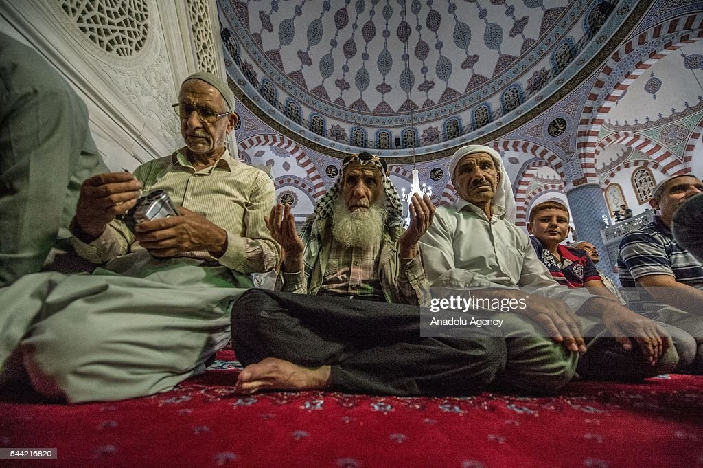 Muslims pray on the Laylat al-Qadr, the night when the first verses of the Quran were revealed, at Dergah mosque region in Sanliurfa province of Turkey on July 1, 2016.