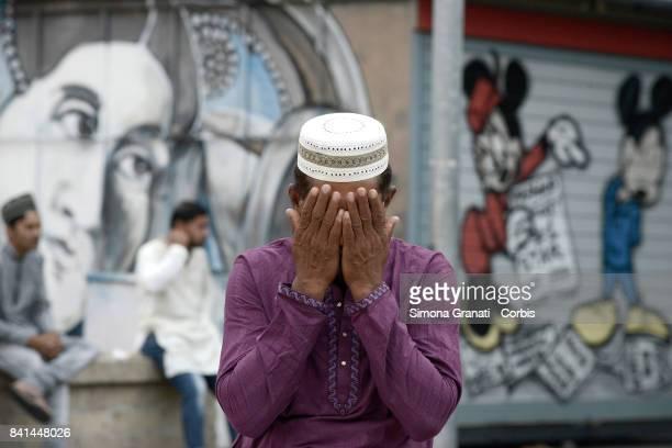 Muslims praying to celebrate the Sacrifice Feast Eid AlAdha in the suburban district of Tor Pignattara in Largo Perestrello on September 1 2017 in...