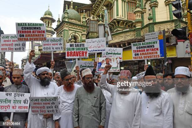 Muslims protest against terror attack on Amarnath Yatra devotees at Minara Masjid on July 11 2017 in Mumbai India