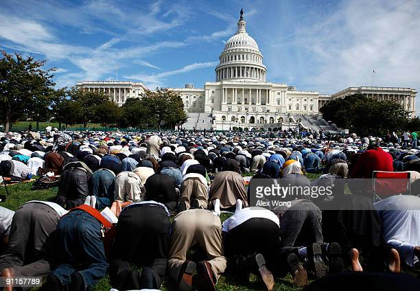 Muslims say prayer during the 'Islam on Capitol Hill 2009' event at the West Front Lawn of the US Capitol September 25 2009 in Washington DC...