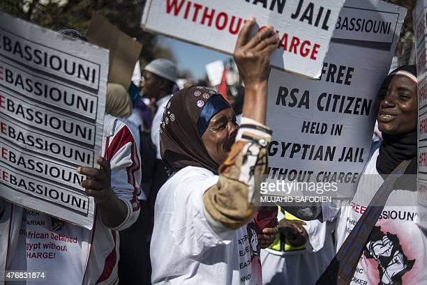 Muslims worshippers protest against the Egyptian government and ask for the release of South African humanitarian aid Worker and elderly cleric Abdus...