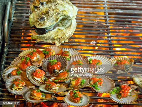 mussels Barbecue Grill cooking seafood. : Stock Photo