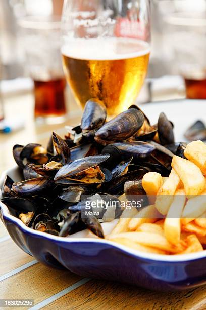 Mussels, french fries and beer