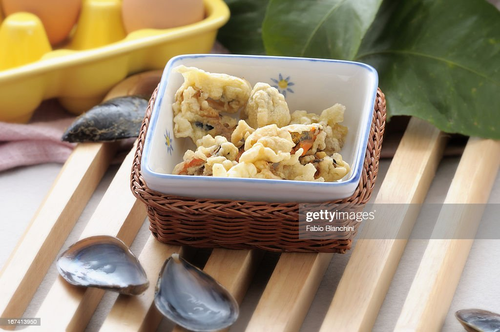 Mussels fried in batter : Stockfoto