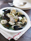 Mussels, scallops, clams in broth