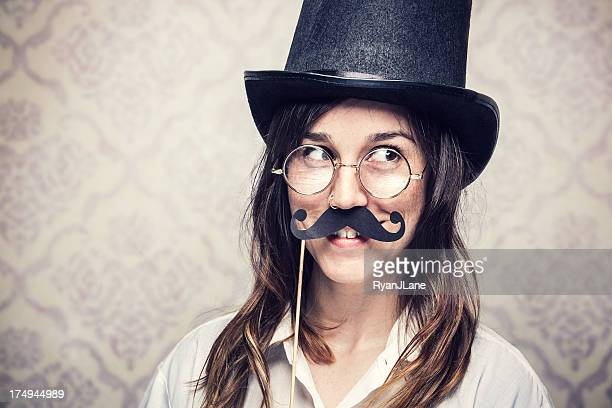 Mustache Woman with Top Hat