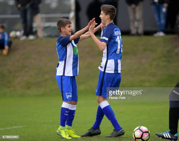 Mustafa Abdullatif and Quentin Seidel of Hertha BSC U14 during the Nike Premier Cup 2017 on May 6 2017 in Berlin Germany