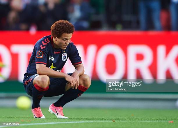 Mustafa Amini of AGF Aarhus looks dejected after the Danish Alka Superliga match between Silkeborg IF and AGF Aarhus at Jysk Park on July 31 2017 in...