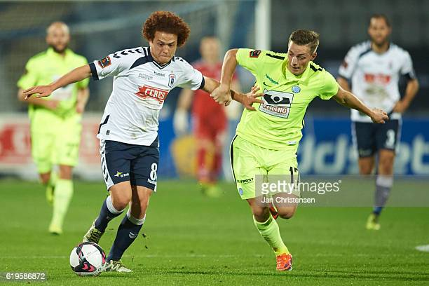 Mustafa Amini of AGF Arhus and Casper Nielsen of Esbjerg fB compete for the ball during the Danish Alka Superliga match between AGF Arhus and Esbjerg...