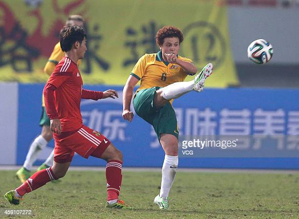 Mustafa Amini of Australia kicks the ball during the match between China U22 and Australia U22 on day three of the 'Wuhan City of Automobile'...