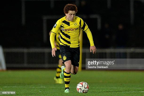 Mustafa Amini of Dortmund runs with the ball during the 3 Liga match between Borussia Dortmund II and Energie Cottbus at Stadion Rote Erde on...