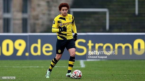 Mustafa Amini of Dortmund runs with the ball during the 3 Liga match between Borussia Dortmund II and Preussen Muenster at Stadion Rote Erde on...