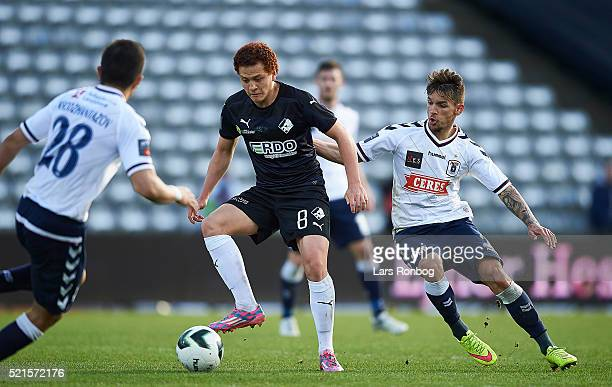Mustafa Amini of Randers FC and Dino Mikanovic of AGF Aarhus compete for the ball during the Danish Alka Superliga match between AGF Aarhus and...