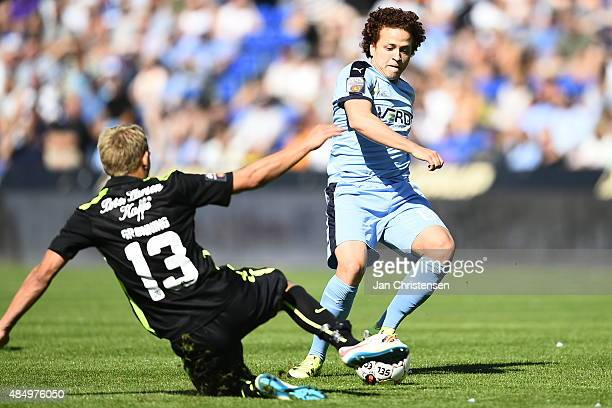 Mustafa Amini of Randers FC compete for the ball during the Danish Alka Superliga match between Randers FC and Viborg FF at AutoC Park Randers on...