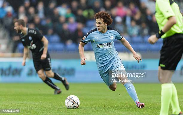 Mustafa Amini of Randers FC controls the ball during the Danish Alka Superliga match between Randers FC and Sonderjyske at AutoC Park on September 13...