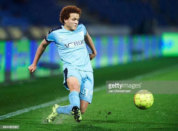 Mustafa Amini of Randers FC controls the ball during the Danish Alka Superliga match between Randers FC and OB Odense at BioNutria Park Randers on...