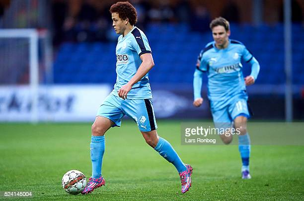 Mustafa Amini of Randers FC controls the ball during the Danish Alkla Superliga match between Randers FC and AaB Aalborg at BioNutria Park on April...