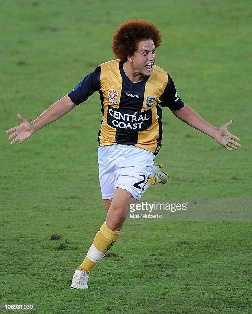 Mustafa Amini of the Mariners celebrates a goal during the round 19 ALeague match between Gold Coast United and the Central Coast Mariners at Skilled...
