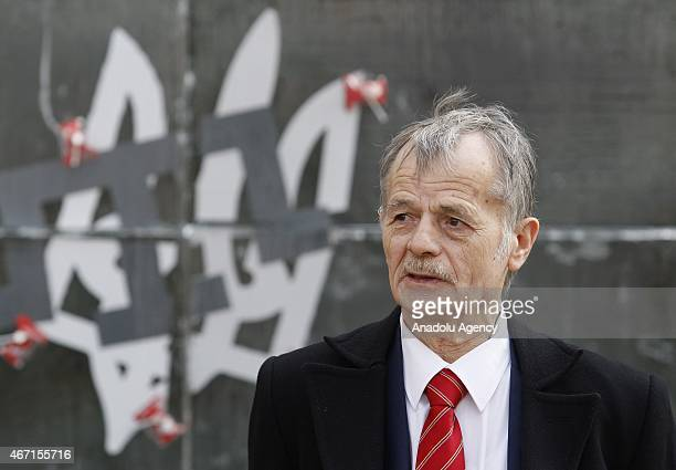 Mustafa Dzhemilev leader of the Crimean Tatars speaks after attending an event on one year anniversary of the annexation of Ukraine's Crimea...