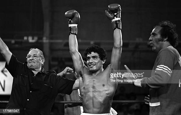 Mustafa Hamsho celebrates the fight against Alan Minter during the fight at Caesars Palace in Las Vegas Nevada Mustafa Hamsho Won by a SD 10