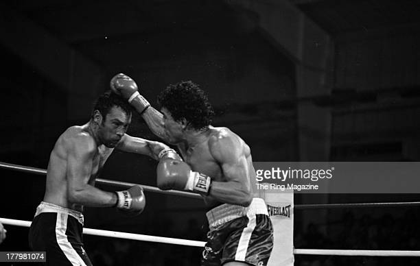 Mustafa Hamsho lands a punch against Alan Minter during the fight at Caesars Palace in Las Vegas Nevada Mustafa Hamsho Won by a SD 10