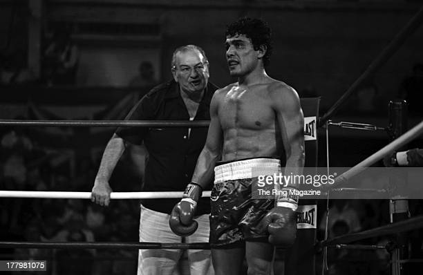 Mustafa Hamsho looks on from his corner during the fight against Alan Minter at Caesars Palace in Las Vegas Nevada Mustafa Hamsho Won by a SD 10