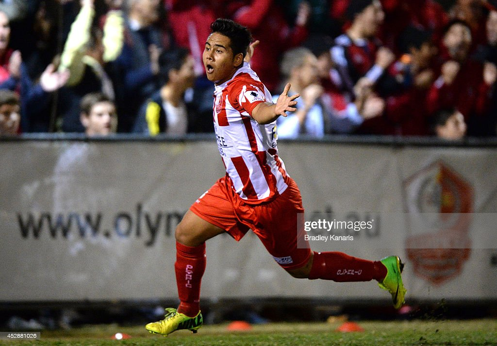 Mustafa Jafari of Olympic celebrates after scoring a goal during the FFA Cup match between Olympic FC and Melbourne Knights at Goodwin Park on July 29, 2014 in Brisbane, Australia.