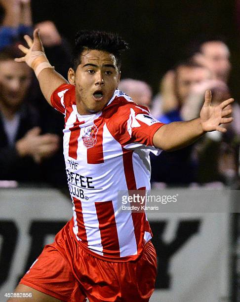 Mustafa Jafari of Olympic celebrates after scoring a goal during the FFA Cup match between Olympic FC and Melbourne Knights at Goodwin Park on July...