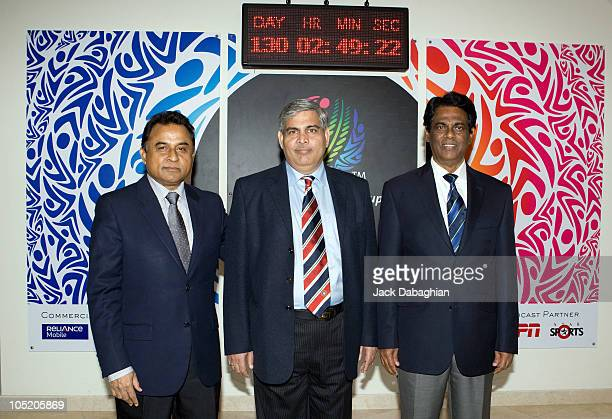 Mustafa Kamal Shashank Manohar and DS de Silva pose at the International Cricket Council Executive Board meeting on October 12 2010 in Dubai United...